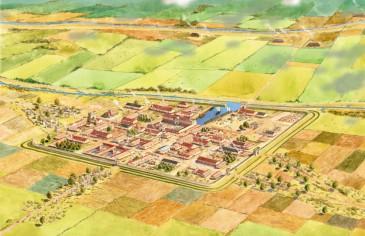 Reconstructie-tekening van Forum Hadriani met insteekhaven. Deze lag min of meer op het zuiden.