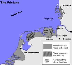Het oorspronkelijk leefgebied van de Nieuwe Friezen en het huidige Friese taalgebied. In de loop der middeleeuwen was het vooral de Friese taal die teruggedrongen werd, naarmate meer mensen Nederlands gingen spreken. (Bron: wikimedia commons)