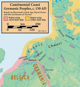 """De indeling van de belangrijkste """"stammen"""" in Noordwest-Europa rond 150 AD. Wijzigingen in de kustlijn zijn op deze kaart genegeerd. (bron: wikimedia commons)"""