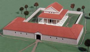 Reconstructie van de tempel van Hercules Magusanus bij Empel, met een opvallend groot voorgebouw.