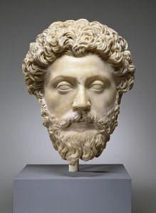 Marmeren portret van Marcus Aurelius: volle krullen en een baard! (Walters Art Museum)