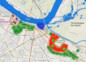 Nijmegen na de Bataafse Opstand. De castra is omgeving door canabae. In het westen ligt Noviomagus. De groene gebieden zijn grafvelden.