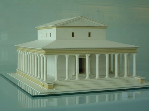 Reconstructie van de 2e tempel van Elst, die aan Hercules Magusanus gewijd was. Het is de beroemdste Gallo-Romeinse tempel in Nederland.