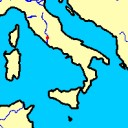 Rome is in het begin een kleine nederzetting aan de Tiber, midden in Italië.