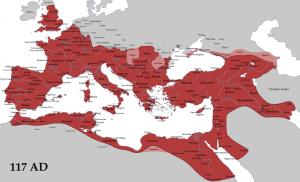 Het Romeinse Rijk in 117 AD, bij de dood van Trajanus. Lichtroze zijn cliëntstaten. In tegenstelling tot wat velen denken was het rijk nog niet op zijn grootst, al zou expansie hierna niet meer voorop staan.