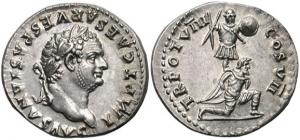 Denarius met de beeltenis van Titus (ca. 79 AD). Op de andere zijde een wapen een knielende Joodse gevangene en wapenrusting, ter herinnering van Titus' triomf over de rebellen.