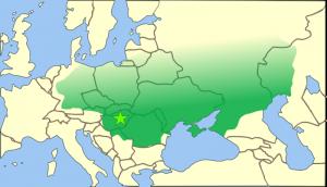Onder Attila kreeg het rijk der Hunnen zijn grootste omvang. De grenzen in het noorden lagen niet zo scherp bij gebrek aan concrete staten.