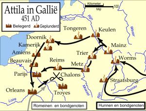 Attila's verwoestende veldtocht door Gallië. Ook het tegenwoordige België was de klos, maar Nederland bleef gespaard.
