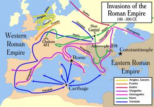 De Grote Volksverhuizing! De komst van de Hunnen deed menig volk op de vlucht slaan, al waren de Germanen nooit vies van grote invallen geweest.