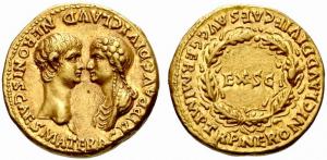 Aureus met Nero en Agrippina erop.