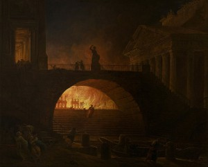 Hubert Robert, The Fire of Rome (1785). Het fabeltje over Nero's brandstichting en zijn muziekspel zijn legendarisch.