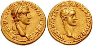Caligula en zijn vader Germanicus, beide afgebeeld op weerszijden van een aureus.