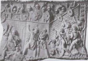 Romeinse soldaten verdedigen een vesting tegen de Daciërs. (Reliëf van de Zuil van Trajanus.)