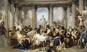 Vitellius stond bekend om zijn decadentie en vraatzucht. (Thomas Couture, Les Romains de la décadence (1847) Musée d'Orsay)