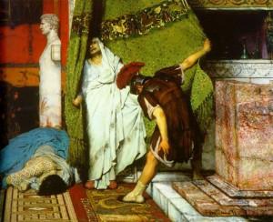 Soldaat Gratus ontdekt de doodsbange Claudius achter het gordijn en buigt voor hem. (Detail van een schilderij van Lawrence Alma-Tadema)