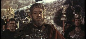 Alec Guinness als Marcus Aurelius in The Fall of Rome (1964). Ook in deze film wordt Marcus vermoord door Commodus.