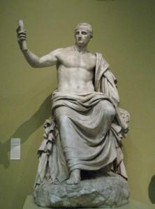 De na zijn dood vergoddelijkte Nerva als Jupiter. (Kopie van een origineel uit het Capitolijns Museum, Pushkin Museum)