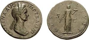 Pompeia Plotina, de echtgenote van keizer Trajanus, zag veel in Hadrianus. Mogelijk is zij het brein achter zijn troonsbestijging.