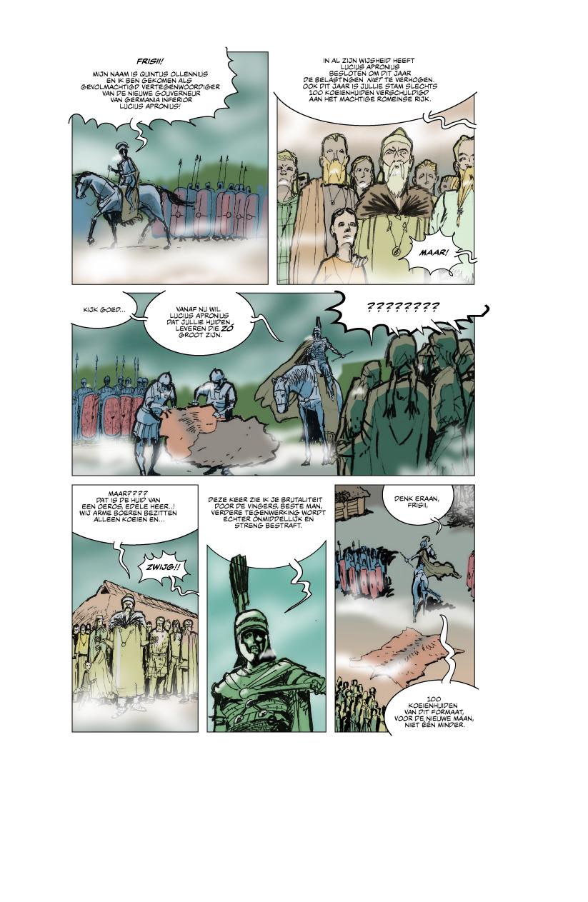 Een ruwe opzet van hoe een realistische historische strip over de Romeinen in ons land eruit zou kunnen zien. (©Hennie Vaessen/PelikaanPers)