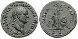 """Een sestertius van keizer Vespasianus, met op de andere zijde de tekst IVDEA CAPTA (""""Judea ingenomen"""")"""