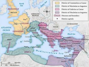 Het rijk in tweeën gesplitst, of eigenlijk in vieren. De 2 Augusti besturen elk een helft met vijf regio's, waarvan er 2 onder direct bestuur van een Caesar worden geplaatst.