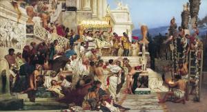 Henrik Siemiradzki, Nero's toortsen (1876). Nero was zeer berucht om zijn christenvervolgingen en stond mogelijk symbool voor het Beest dat in het Bijbelboek Openbaringen voorkomt.