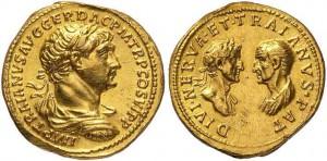 Aureus uit 115, met aan de ene zijde keizer Trajanus en aan de andere zijde zijn adoptievader Nerva en zijn biologische vader.