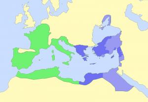 Octavianus (groen) contra Marcus Antonius (paars). Lichtpaars geeft Antonius' bondgenoten weer: koninkrijk Egypte en de oostelijke cliëntstaten.