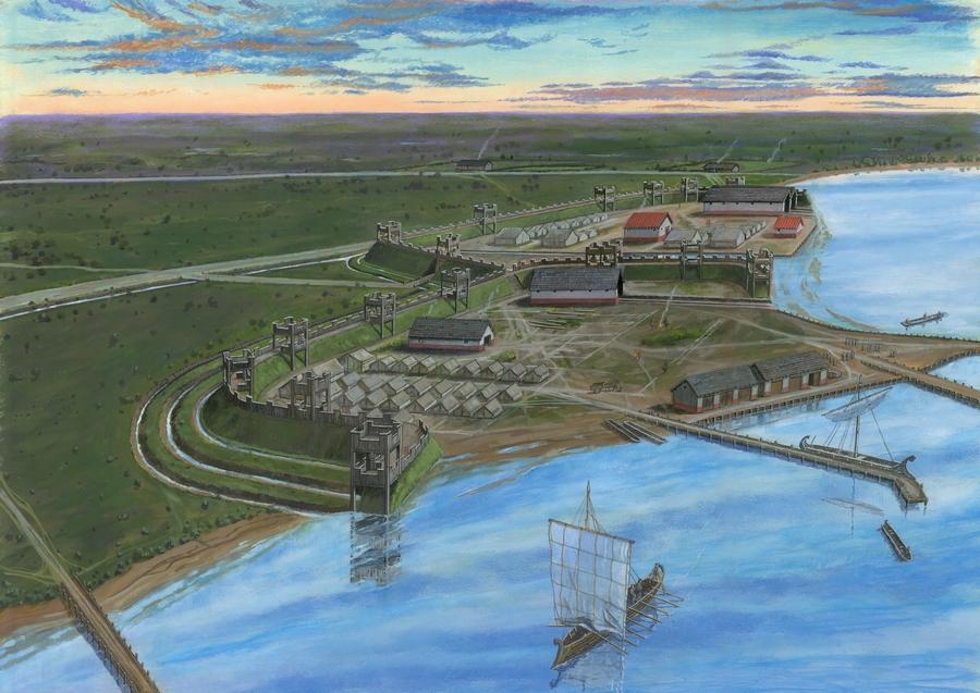 De twee kampen en vlootbasis bij Velsen, aan de zuidoever van het Oer-IJ. (Tekening: Graham Sumner)