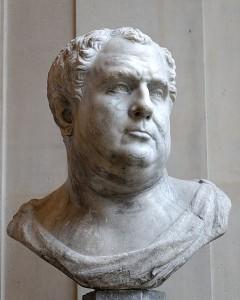 Niet-Romeinse buste die Vitellius voorstelt. Hij wordt omschreven als een lange man met een dikke buik en roze wangen van de wijn. (Bron: Louvre)