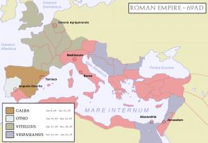 Het Romeinse rijk in verschillende kampen verdeeld. Hispania en centraal Gallië steunden eerst Galba, maar later Vitellius.