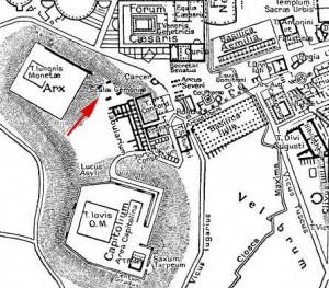 Vitellius vond de dood op de Gemonische Trappen of Trap der Zuchten, een executieplaats die vermoedelijk op de hier aangegeven plek lag.