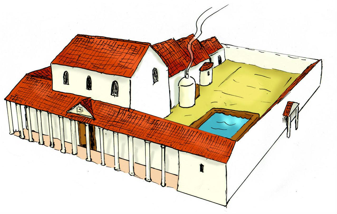 Zo zou het thermencomplex van Coriovallum eruit gezien kunnen hebben. Het witte koepeltje bevatte de sauna.
