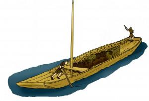 Door platbodems of Zwammerdamschepen door ondiep water te bomen konden grote ladingen vervoerd worden.