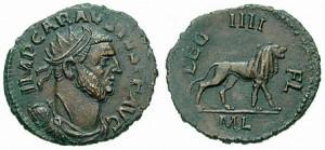 Munt van Carausius, van het Britse Keizerrijk. Net als zijn opvolger Allectus en Constantius Chlorus, die Brittannië heroverde, is hij opgenomen in de legendarische Britse koningslijst van Geoffrey of Monmouth.