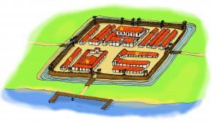 Tekening losjes gebaseerd op het castellum van Praetorium Agrippinae