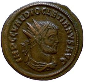 Antoninianus van Diocletianus, met zonnekroon.