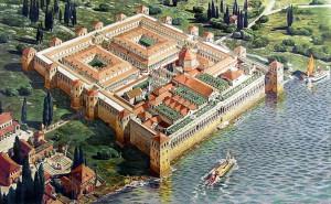 Reconstructie van het versterkte paleis waar Diocletianus zich na zijn aftreden terugtrok. (Tekening door Ernest Hébrard)
