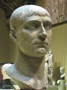 Een buste van Maxentius. (Pushkin Museum, kopie van een origineel uit Dresden)