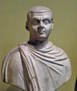 Maximinus Daia deelde uiteindelijk de macht in het oosten met Licinius, maar niet van harte. (Pushkin Museum, kopie van een origineel uit Caïro)
