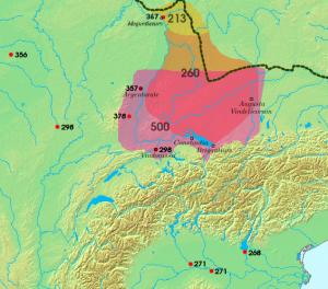 De Agri Decumates, het grensgebied tussen de Rijn, Main en Donau, werd vanaf de tijd van Caracalla regelmatig door de Alemannen bedreigd.