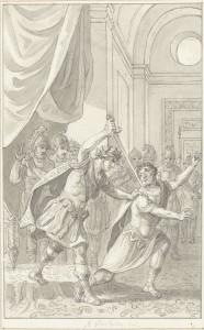Keizer Diocletianus vermoordt Aper, Reinier Vinkeles, 1804. De tekenaar lijkt niet op de hoogte van de sterk veranderde mode van eind 3e eeuw, en leunt in plaats daarvan op de stereotype uitbeelding van Romeinen. (Bron: Rijksmuseum)