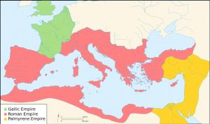 Het Romeinse rijk in drieën gescheurd. In het westen het Gallische Keizerrijk, in het oosten het Palmyreense rijk van koningin Zenobia.