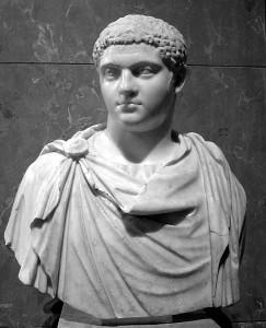 Buste van Geta. (Het Louvre) Afbeeldingen van hem zijn zeldzaam omdat Caracalla deze na de moord liet verwijderen.