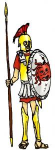 Het Romeinse leger nam ook een tijdje de Griekse hoplieten-uitrusting en de falanx over.