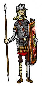 De stevig bepantserde legionair van rond het jaar 200.