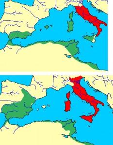De rijken van Rome en Carthago bij het begin van de eerste oorlog boven) en de tweede oorlog onder)