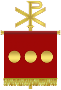 Het labarum, het vaandel met het chi-rho-teken, waar Constantijn zijn troepen mee uitrustte.