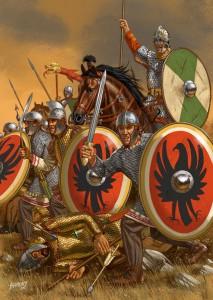 Romeinse troepen uit de tijd van Diocletianus, herkenbaar aan hun dekkende helm met neusbeschermer, naar Perzisch voorbeeld, evenals hun Germaanse schildknoppen. (foto: pinterest)