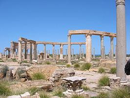 De ruïnes van Leptis Magna, in Libië, waar Septimius Severus opgroeide.